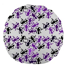 Lizards Pattern   Purple Large 18  Premium Flano Round Cushions by Valentinaart