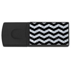 Chevron3 Black Marble & Gray Marble Usb Flash Drive Rectangular (4 Gb) by trendistuff