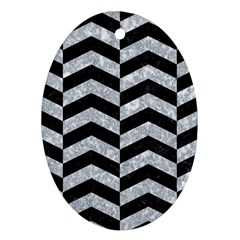 Chevron2 Black Marble & Gray Marble Ornament (oval) by trendistuff