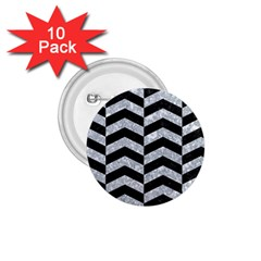 Chevron2 Black Marble & Gray Marble 1 75  Button (10 Pack)