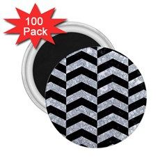 Chevron2 Black Marble & Gray Marble 2 25  Magnet (100 Pack)  by trendistuff