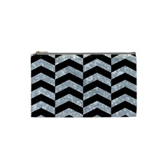 Chevron2 Black Marble & Gray Marble Cosmetic Bag (small) by trendistuff