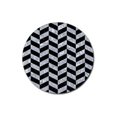 Chevron1 Black Marble & Gray Marble Rubber Round Coaster (4 Pack) by trendistuff
