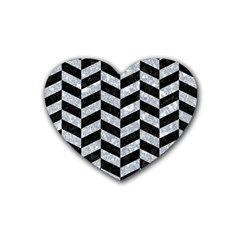 Chevron1 Black Marble & Gray Marble Rubber Heart Coaster (4 Pack) by trendistuff