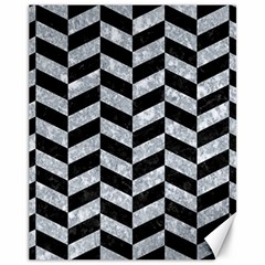 Chevron1 Black Marble & Gray Marble Canvas 11  X 14  by trendistuff