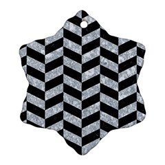 Chevron1 Black Marble & Gray Marble Ornament (snowflake) by trendistuff