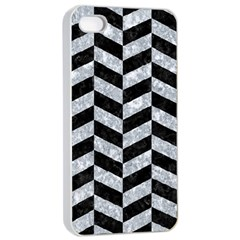 Chevron1 Black Marble & Gray Marble Apple Iphone 4/4s Seamless Case (white) by trendistuff