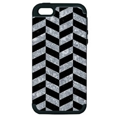 Chevron1 Black Marble & Gray Marble Apple Iphone 5 Hardshell Case (pc+silicone) by trendistuff