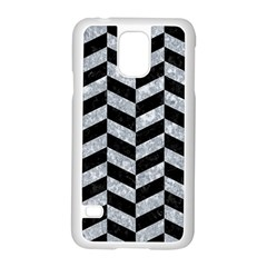 Chevron1 Black Marble & Gray Marble Samsung Galaxy S5 Case (white) by trendistuff