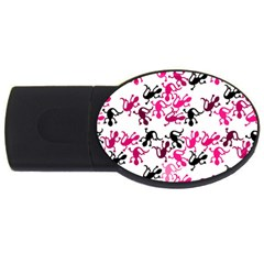 Lizards Pattern   Magenta Usb Flash Drive Oval (2 Gb)  by Valentinaart