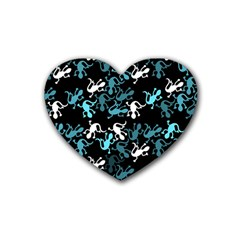 Cyan Lizards Pattern Rubber Coaster (heart)  by Valentinaart