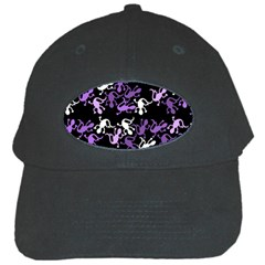 Purple Lizards Pattern Black Cap by Valentinaart