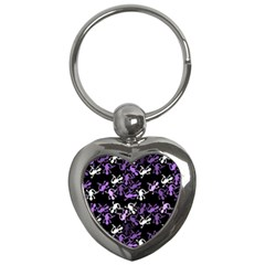 Purple Lizards Pattern Key Chains (heart)  by Valentinaart