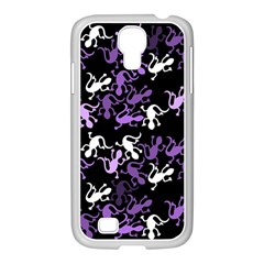 Purple Lizards Pattern Samsung Galaxy S4 I9500/ I9505 Case (white) by Valentinaart