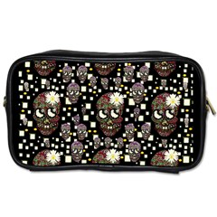 Floral Skulls With Sugar On Toiletries Bags 2 Side by pepitasart