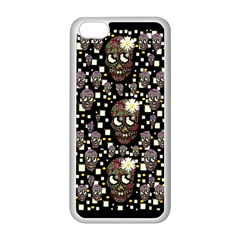 Floral Skulls With Sugar On Apple Iphone 5c Seamless Case (white) by pepitasart