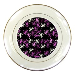 Magenta Lizards Pattern Porcelain Plates by Valentinaart
