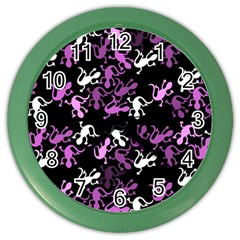 Magenta Lizards Pattern Color Wall Clocks by Valentinaart