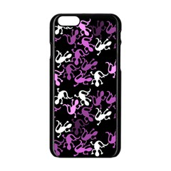 Magenta Lizards Pattern Apple Iphone 6/6s Black Enamel Case by Valentinaart