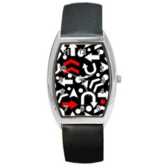 Right Direction   Red Barrel Style Metal Watch by Valentinaart