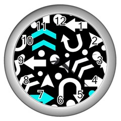 Right Direction   Cyan Wall Clocks (silver)  by Valentinaart