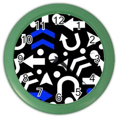 Right Direction   Blue  Color Wall Clocks by Valentinaart