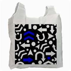 Right Direction   Blue  Recycle Bag (two Side)  by Valentinaart
