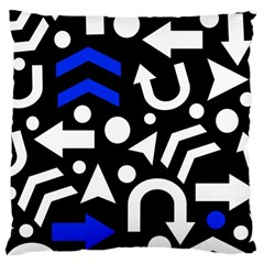 Right Direction   Blue  Large Cushion Case (two Sides) by Valentinaart