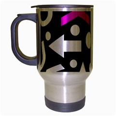 Right Direction   Magenta Travel Mug (silver Gray) by Valentinaart
