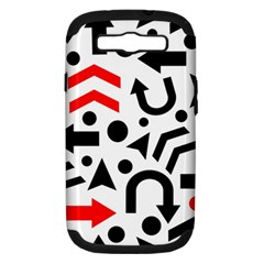 Red Right Direction Samsung Galaxy S Iii Hardshell Case (pc+silicone) by Valentinaart