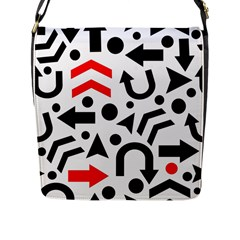 Red Right Direction Flap Messenger Bag (l)  by Valentinaart