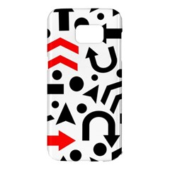 Red Right Direction Samsung Galaxy S7 Edge Hardshell Case by Valentinaart