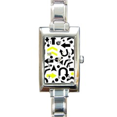 Yellow Right Direction  Rectangle Italian Charm Watch by Valentinaart