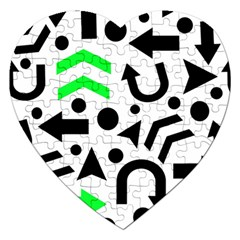 Green Right Direction  Jigsaw Puzzle (heart) by Valentinaart