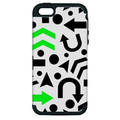 Green Right Direction  Apple Iphone 5 Hardshell Case (pc+silicone) by Valentinaart