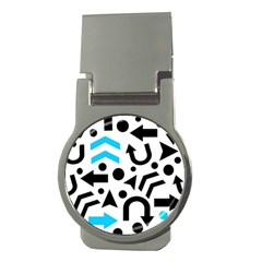 Cyan Right Direction Money Clips (round)