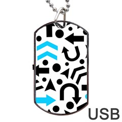 Cyan Right Direction Dog Tag Usb Flash (two Sides)