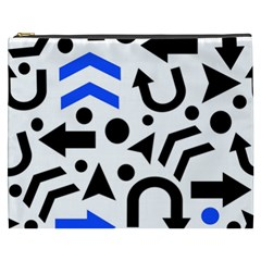 Blue Right Direction Cosmetic Bag (xxxl)  by Valentinaart