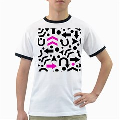 Magenta Right Direction Ringer T Shirts