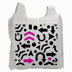 Magenta Right Direction Recycle Bag (two Side)  by Valentinaart