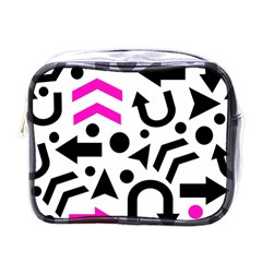 Magenta Right Direction Mini Toiletries Bags by Valentinaart
