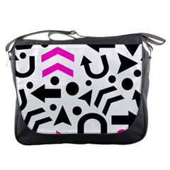 Magenta Right Direction Messenger Bags by Valentinaart