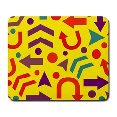 Yellow Direction Large Mousepads by Valentinaart
