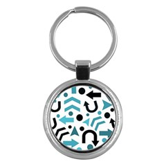Cyan Direction Pattern Key Chains (round)  by Valentinaart