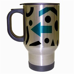 Cyan Direction Pattern Travel Mug (silver Gray) by Valentinaart