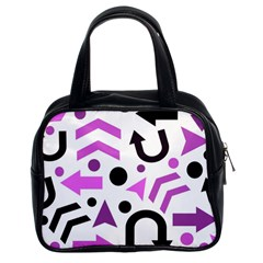 Magenta Direction Pattern Classic Handbags (2 Sides) by Valentinaart