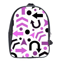 Magenta Direction Pattern School Bags(large)  by Valentinaart