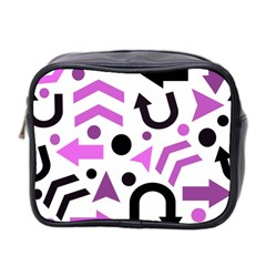 Magenta Direction Pattern Mini Toiletries Bag 2 Side by Valentinaart