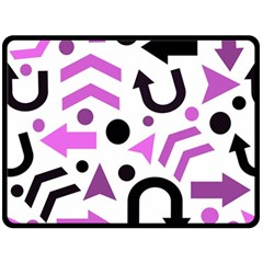 Magenta Direction Pattern Double Sided Fleece Blanket (large)