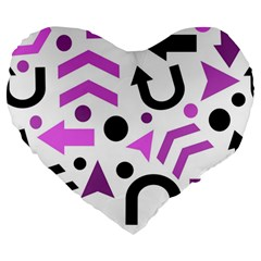 Magenta Direction Pattern Large 19  Premium Flano Heart Shape Cushions by Valentinaart